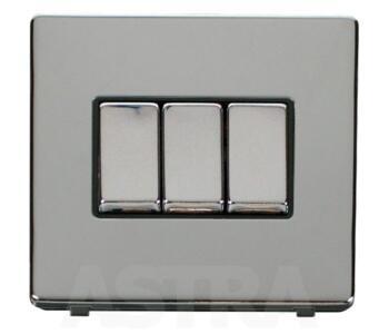 Screwless Chrome Light Switch Triple Ingot 3 Gang - With Black Interior