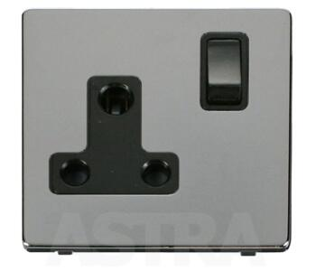 Screwless Chrome Round Pin Socket 15A 1 Gang - With Black Interior