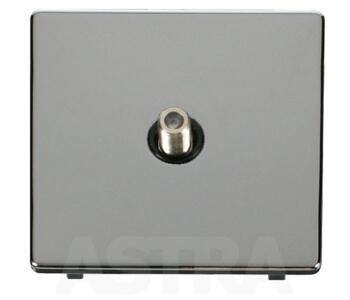 Screwless Chrome Satellite Socket - Single Outlet - With Black Interior