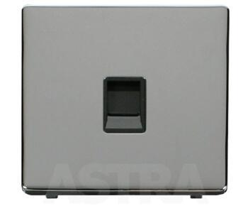 Screwless Chrome Single RJ11 Data Socket Outlet - With Black Interior