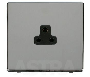Screwless Chrome Single Round Pin Socket 2A - With Black Interior