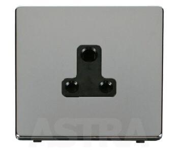 Screwless Chrome Single Round Pin Socket 5A - With Black Interior