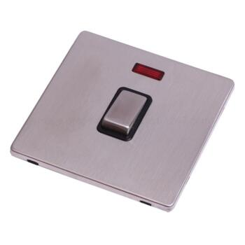 Screwless Stainless Steel 20A DP Switch & Neon - With Black Interior