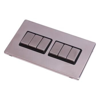 Screwless Stainless Steel Light Switch 6Gang Ingot - With Black Interior
