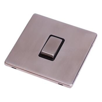 Screwless Stainless Steel Light Switch Single Ing - With Black Interior