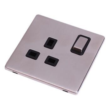 Screwless Stainless Steel Single Socket 13A Ingot - With Black Interior