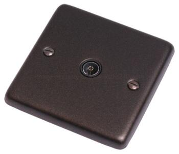 Graphite TV Socket - Single Co-ax Out  - With Black Interior