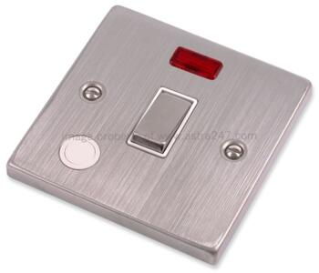 Stainless Steel 20A DP Switch - White Insert - With Neon & Flex Out