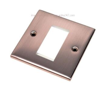 Slimline Satin Chrome Euro Media Data Plate  - One Module Aperture