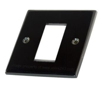 Slimline Black Nickel Euro Media Plate - 1 Gang 1 Module