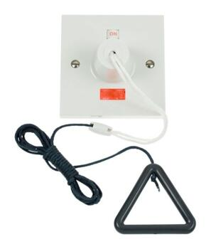 Part M 50A DP Pull Switch with Neon - Square  - 50A DP Pull-Cord Switch with Grey Cord & Bangle