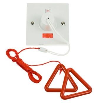 Part M 50A DP Pull Switch with Neon - Square  - 50A DP Pull-Cord Switch with Red Cord & Bangle