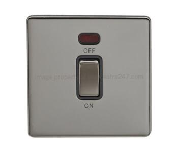 Screwless Black Nickel 45a DP Cooker/Shower Switch - 1 Gang with Neon