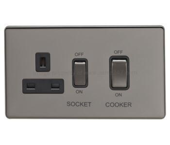 Screwless Black Nickel 45A Cooker Control Unit - Without Neon