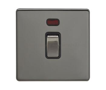 Screwless Black Nickel 20A DP Switch - 20A DP Switch with Neon