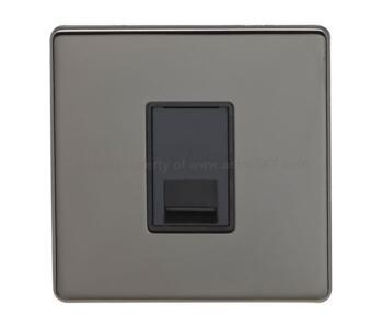 Screwless Black Nickel Cat5 Data Outlet Sockets - 1 Gang Computer