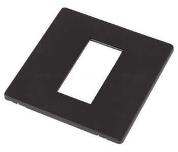 Screwless Matt Black Eurodata Media Module Plate - Single 1 Module 25 x 50mm