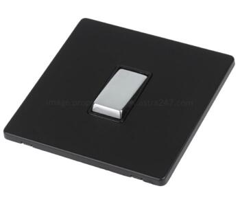 Screwless Matt Black & Chrome Light Switch  - 1 Gang 2 Way Single