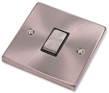 Satin Chrome Light Switch - Single 1 Gang 2 Way - With Black Interior