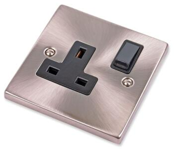 Satin Chrome Single Socket - 13A 1 Gang Switched - With Black Interior