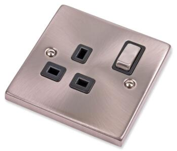 Satin Chrome Single Socket - Ingot 1 Gang Switched - With Black Interior