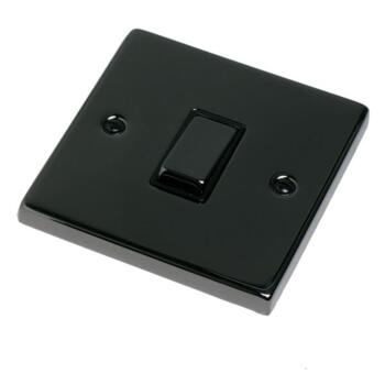 Black Nickel Light Switch  - Single - 1 Gang 2 Way
