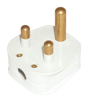 5A Plug Tops - Round Pin - Rewireable - Non Fused - 5A - White