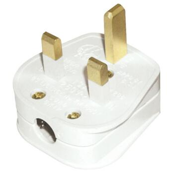 13A Plug Top - Standard Rewireable - Resilient  - White with 13A Fuse