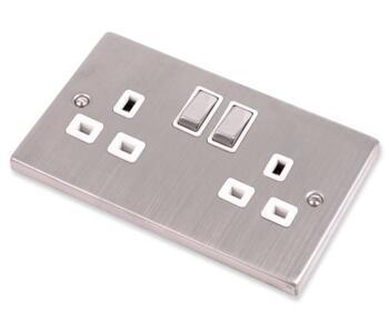 Stainless Steel Socket White Insert - 2 Gang Double