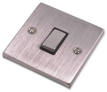 Stainless Steel Light Switch Black Insert - Single 1 Gang 2 Way