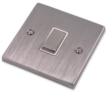 Stainless Steel Light Switch White Insert - Single - 1 Gang
