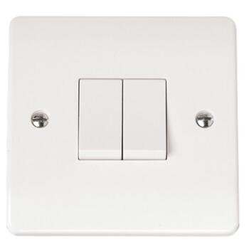 Mode Double Light Switch 10AX 2 Gang 2 Way  - White