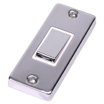 Polished Chrome Architrave Light Switch - With White Interior