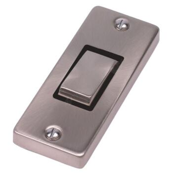 Satin Chrome Architrave Light Switch - With Black Interior