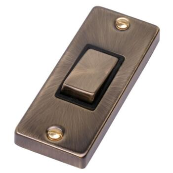 Antique Brass Single Architrave Light Switch - 1 Gang