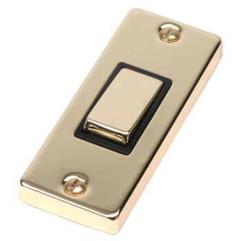 Polished Brass 1 Gang Architrave Light Switch - With Black Interior