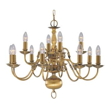 Flemish Ceiling Light - 12 Light 1019-12AB - Antique Solid Brass