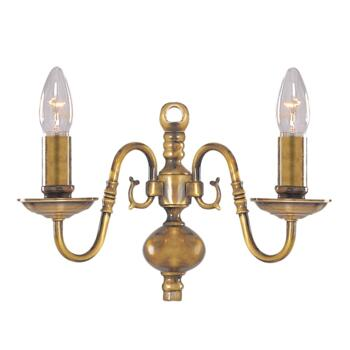 Flemish Wall Light - 2 Light 1019-2AB - Antique Solid Brass