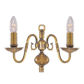 Flemish Wall Light - 2 Light 1019-2AB - Antique Solid Brass