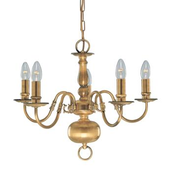 Flemish Ceiling Light - 5 Light 1019-5AB - Antique Solid Brass