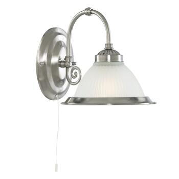 American Diner Wall Light - Satin Silver 1041-1 - Satin Silver