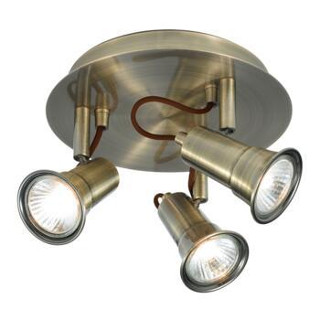 Gaia Spotlight - 3 Light Halogen Round 1223AB - Antique Brass Finish