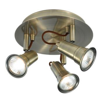 Gaia Spotlight - 3 Light Halogen Round 1223AB - Antique Brass Finish