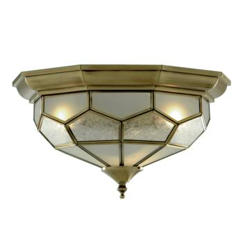Flush Ceiling Light - Antique Brass 1243-12 - Glass Diffuser