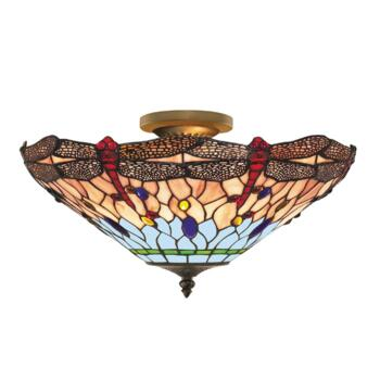 Tiffany Ceiling Light - Bronze Dragonfly 1289-16 - Antique Weathered Bronze