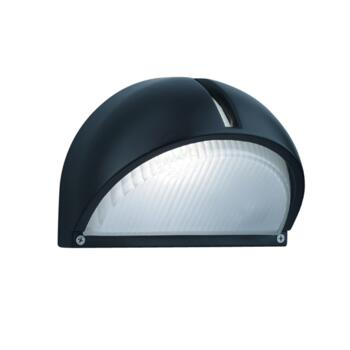 Alchromated Dome Outdoor Wall Light - 130 60W - Black Aluminium Finish