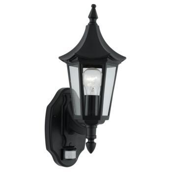 Bel Aire Outdoor Wall Light & Motion Sensor 14715 - Black Cast Aluminium