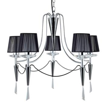 Duchess Ceiling Light - Chrome 5 Light 2085-5CC - Chrome and Black Chrome