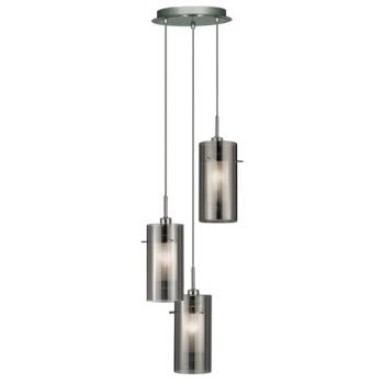 Duo 2 - 3 Light Pendant Fitting - 2300-3SM - Chrome/Smoked and Frosted Glass