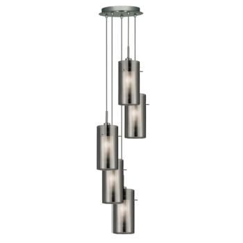Duo 2 Ceiling Light - 5 Light Pendant - 2305-5SM - Chrome/Smoked and Frosted Glass
